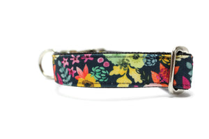 Dark Vintage Floral Canvas Dog Collar