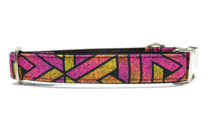 Pink Geometric Grunge Canvas Dog Collar