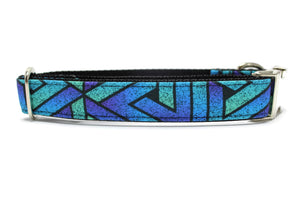 Blue Geometric Grunge Canvas Dog Collar