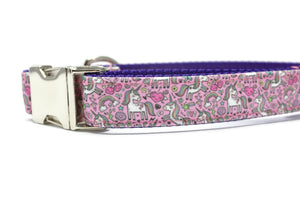 Whimsical Unicorn Canvas Dog Collar