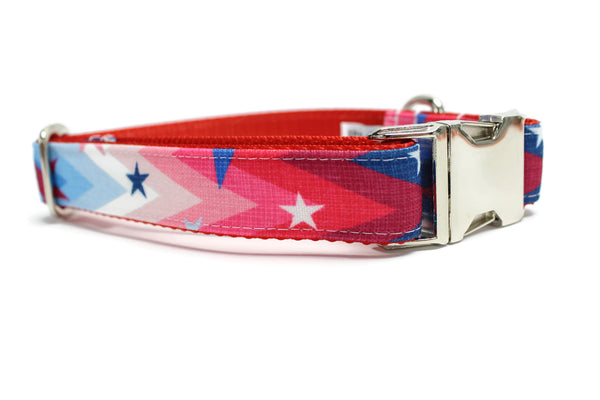 Patriotic Chevron Stars Canvas Dog Collar