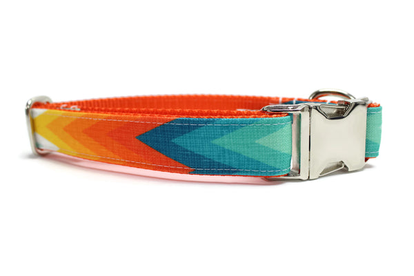 Orange and Blue Summer Chevron Canvas Dog Collar