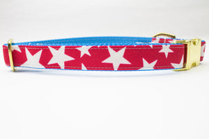 Red Stars Canvas Dog Collar