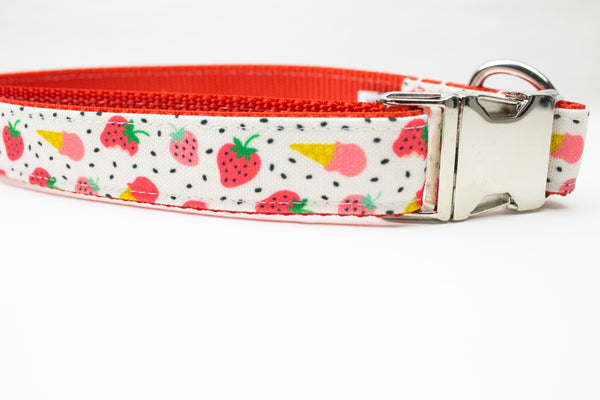 Strawberry Ice Cream Canvas Dog Collar