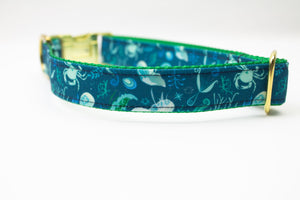 Deep Blue Sea Canvas Dog Collar