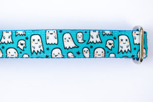 Blue Ghosts Canvas Dog Collar