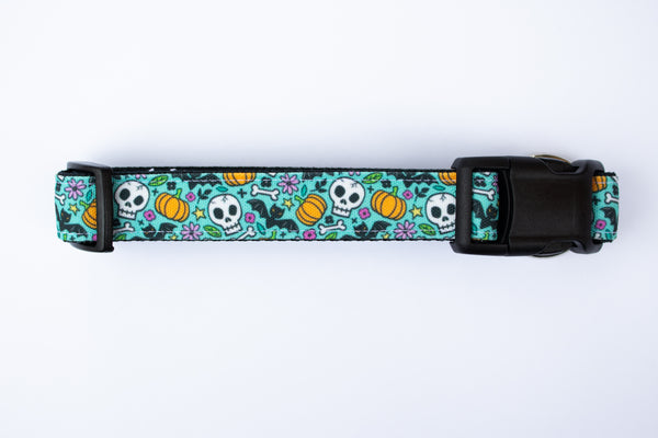 Halloween Doodles Canvas Dog Collar