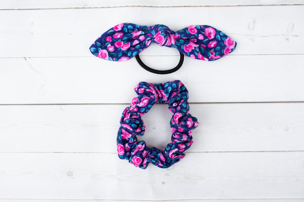 Navy and Pink Floral Hair Bow