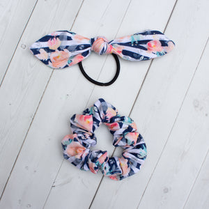 Navy Floral Stripe Headband, Scrunchie or Hair Bow
