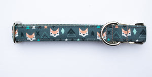 "Geometric Foxes Canvas Dog Collar (1"" and 1.5"" width only)"