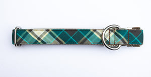 Evergreen Plaid Canvas Dog Collar