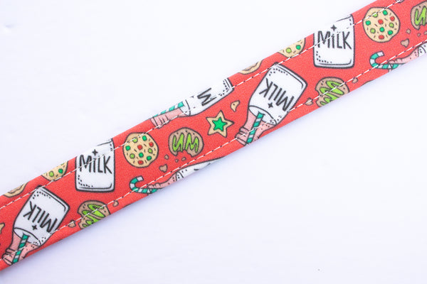 "Milk and Cookies Cotton Fabric Dog Collar (1"" and 1.5"" width only)"