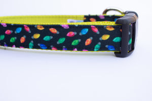 Mini Holiday Lights Canvas Dog Collar