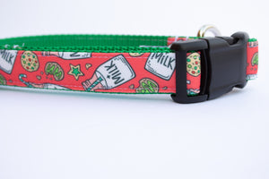 "Milk and Cookies Canvas Dog Collar (1"" and 1.5"" wide only)"