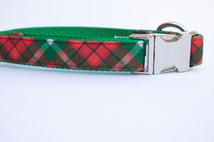 Yuletide Plaid Canvas Dog Collar