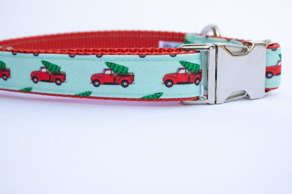 "Red Truck Canvas Dog Collar (1"" and 1.5"" wide only)"