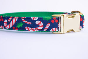 Candy Cane Canvas Dog Collar