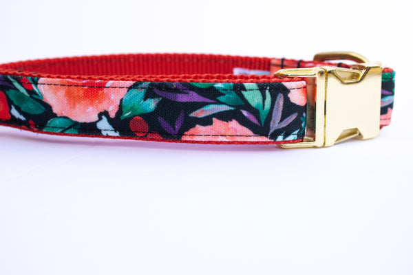 Winter Berry Blooms Canvas Dog Collar