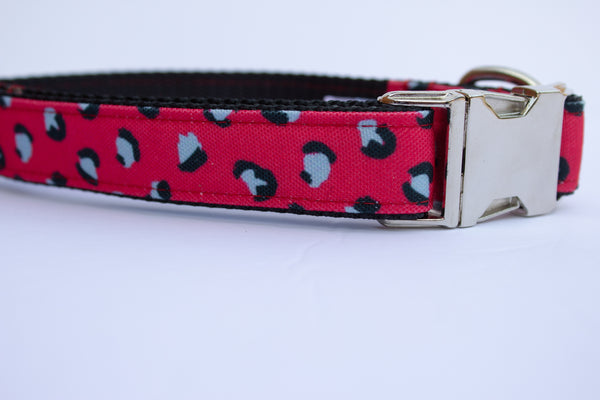 Red Leopard Canvas Dog Collar