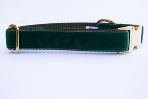 Green Velvet Dog Collar