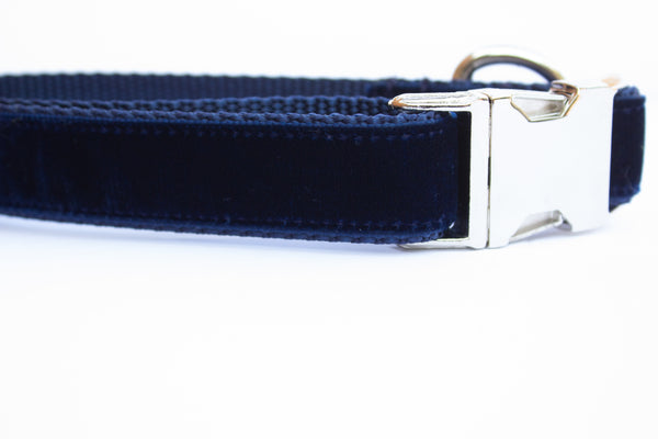 Navy Blue Velvet Dog Collar