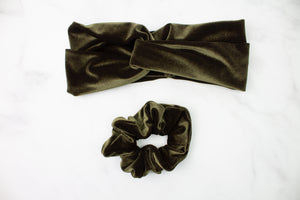 Moss Velvet Turban Headband or Scrunchie