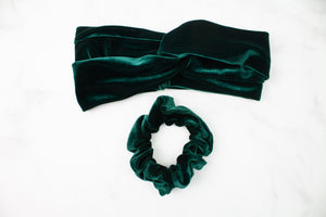 Green Velvet Turban Headband or Scrunchie