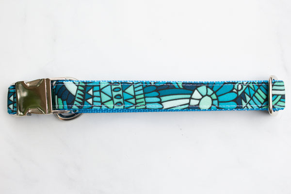 Blue Waves Canvas Dog Collar