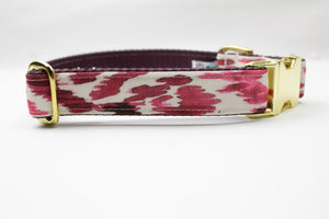 Marsala Leopard Canvas Dog Collar