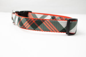 Red, Black and White Plaid Canvas Dog Collar