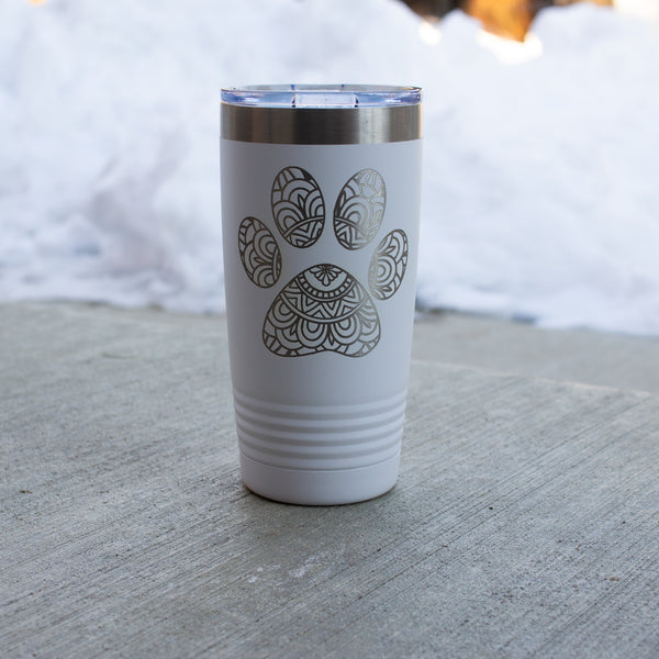 20 oz. Mandela Paw Print Engraved Tumbler (with lid)