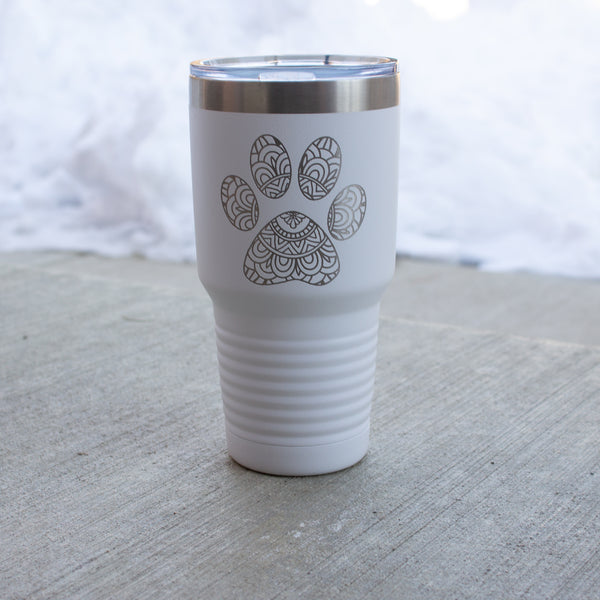 30 oz. Mandela Paw Print Engraved Tumbler (with lid)