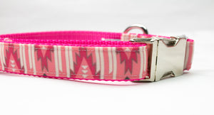 Arizona Pink Canvas Dog Collar