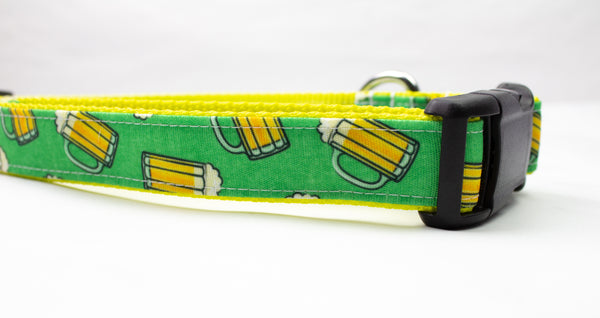 Beer Mug Canvas Dog Collar