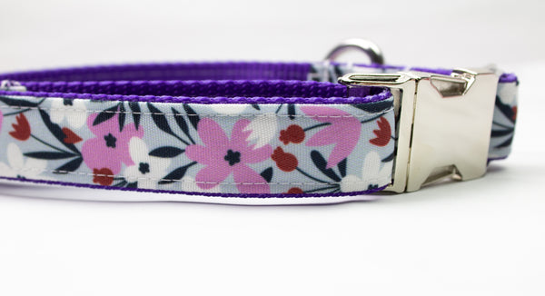 Lilac Fields Canvas Dog Collar