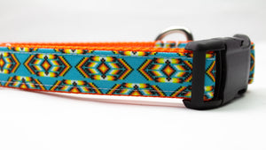 Turquoise Sunset Canvas Dog Collar