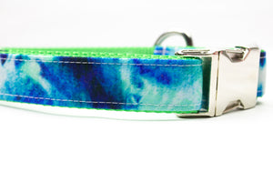 Indigo and Green Tie Dye Canvas Dog Collar