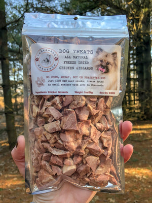 Raw Freeze Dried Chicken Gizzard Treats - 2oz