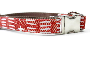 Rust Dash Canvas Dog Collar