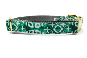 Green Moroccan Tile Canvas Dog Collar