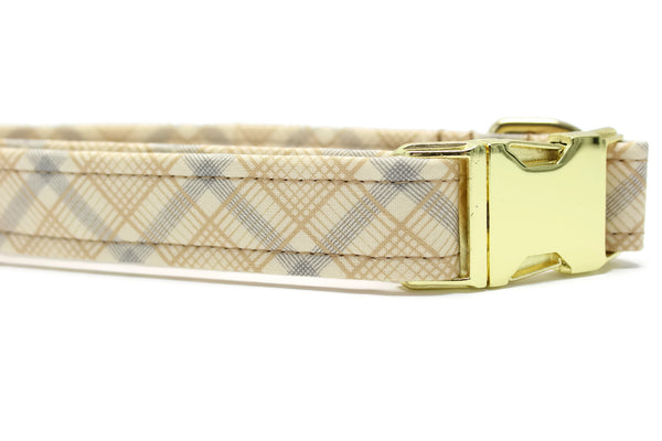 Neutral Plaid Fabric Dog Collar