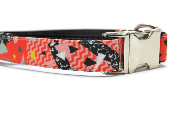 Red Geo Grunge Canvas Dog Collar