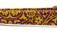 Purple and Gold Floral Fabric Dog Collar