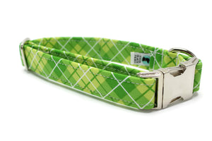 Winter Green Plaid Fabric Dog Collar