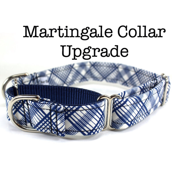 "Fabric Martingale Upgrade with Gold or Silver Hardware (3/4"" and 1"" width) - UPGRADE ONLY"