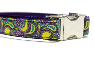 Purple and Yellow Paisley Dog Collar with Metal Buckle