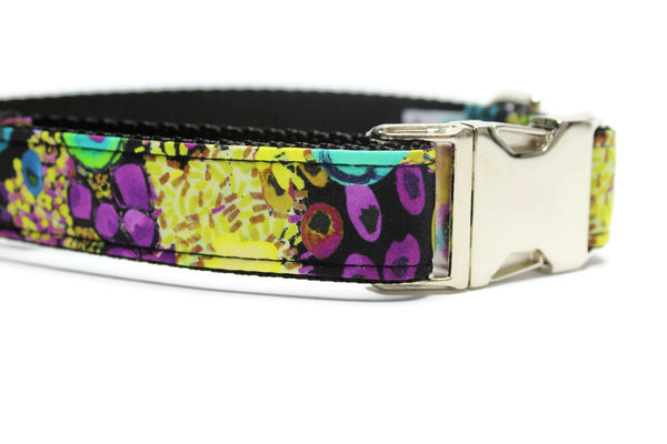 Floral in the Night Dog Collar with Metal Buckle