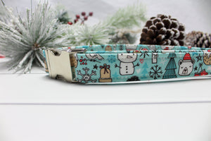 Christmas Graffiti in Blue Dog Collar