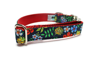 Garden Floral Dog Collar with Metal Buckle