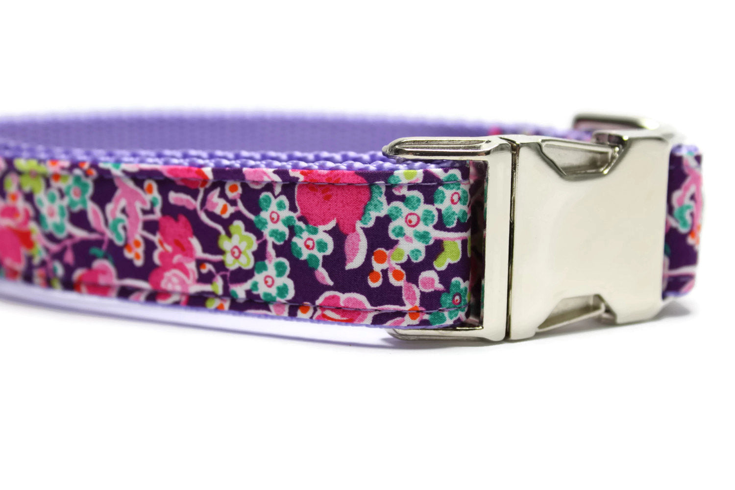 Purple Floral Dog Collar with Metal Buckle